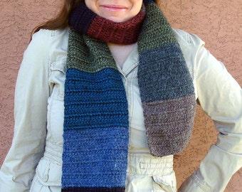 Alpaca Blend Scarf for Women or Men, Stripe, Striped Red, Plum Purple, Blue, Aqua, Fern Green, Ebony Black, Brown Scarves MADE TO ORDER
