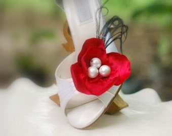 Shoe Clips RED / Blue / Turquoise / Ivory / White / Purple / Green. Statement Spring Fashion, Wedding Bride Bridesmaid, Elegant Pantone 2014