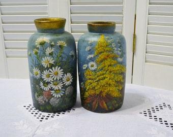 Vintage Pottery Vase Set of 2 Handmade Hand Painted Floral Design PanchosPorch