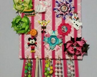 Hair bow, jewelry, head band board organizer holder, pink quatrefoil 12x12