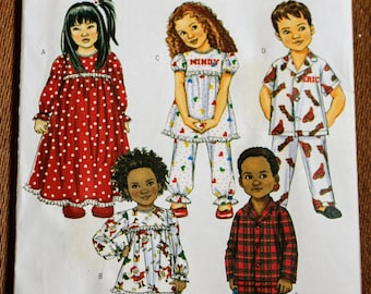 Butterick B4647 Childrens Sewing Pattern Pajamas Nightgown Boys Girls Button Up Long Short Sleeve Gathered Ruffled Collared Kids 1 2 3