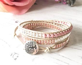 Pink Wrap Bracelet - Pretty Wrap bracelet - Pink Bracelet - UK seller - Boho Chic - Gift for Women, Girlfriend