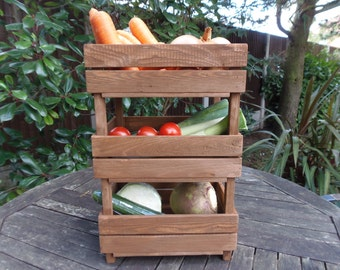 Wooden vegetable rack~storage~kitchen~utility~pantry~veg rack~3 tier~stackable~hobby~gardening~fruit storage~pallet wood