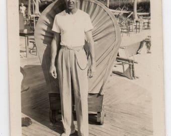 Handsome Man Wearing Resort Wear Vintage Photo Cabana Boy Black And White Photograph Vintage Menswear Fashion
