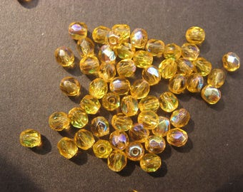 Faceted 4 mm: 21 topaz beads Bohemian