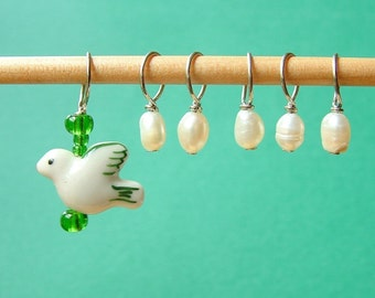 Mama Bird and Egg Stitch Markers--Set of Six