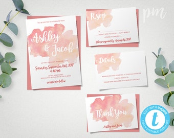 Watercolor Wedding Invitation Template Set, Coral Watercolor Invitations, Printable Invitation, Instant Download, Easy to Edit Template