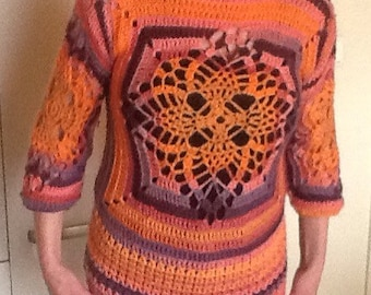 Pattern crochet sweater with gradient yarn