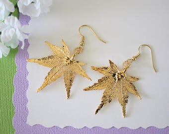 Gold Leaf Earrings, Real Japanese Maple Leaf, Real Leaf Earrings, Maple Leaf, 24kt Gold, Nature, LESM175