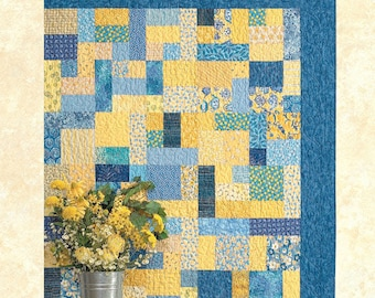 Yellow Brick Road Quilt Pattern by Atkinson Designs - Super EASY Beginner Fat Quarter Pattern - 6 Sizes from Baby to King Sized (W3905)