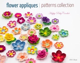 9 Crochet Flower Pattern Collection - Crochet Flower Appliques Patterns Bundle