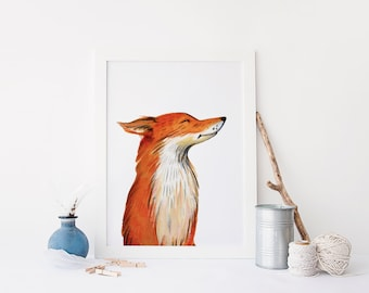 printable art Fox print, watercolour fox, fox wall art, fox printable, woodland nursery print, nursery fox decor, orange nursery decor