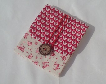Bag holder with compresses and tampons in red and beige. You can hang up. Cover for tampons and compresses with red flowers. Accessory for women.