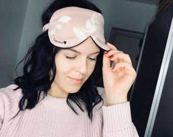 Blush Sleep Mask / Blush Sleep Mask / Customised Sleep Mask / Floral Cotton Mask / Pink Sleep Mask / Rose Sleep Mask