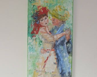 Swing into spring, dancing couple, flower color, colorful acrylic painting