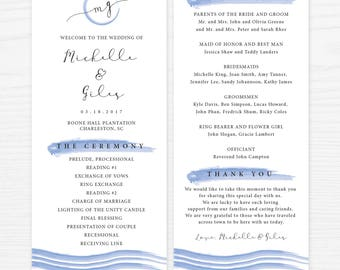 Watercolor Wedding Program Ceremony, Monogram Wedding Ceremony Program Digital Printable WD021
