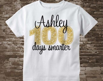 100 days of school shirt, 100th day of school shirt, 100th day shirt, 100 days smarter personalized cotton t-shirt 01042018b