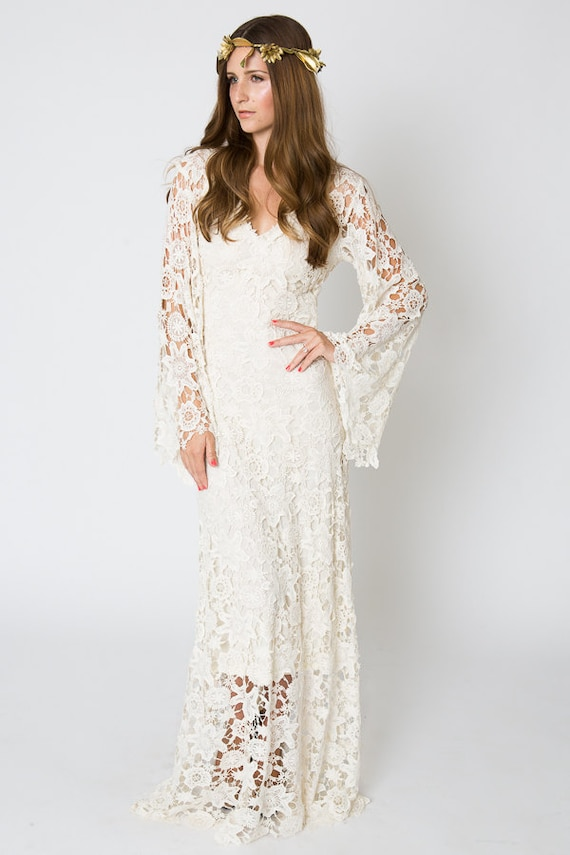 Vintage-Inspired Bohemian Wedding Gown. BELL SLEEVE LACE