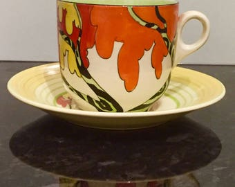 Clarice Cliff Bizarre Honolulu Breakfast Cup and Saucer RARE