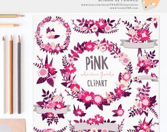 3 FOR 2. Valentine Clipart, Pink + Purple Wedding Wildflower Clipart. Wreaths, Banners, Flowers + Bouquets. Digitally Handdrawn. Romance.