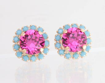 Fuchsia earrings,turquoise earrings,rose gold earrings,swarovski earrings,Swarovski,fashion earrings,pink and turquoise earrings,hot pink