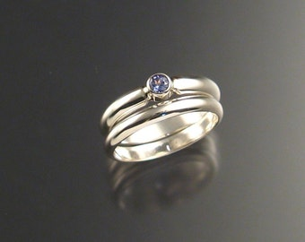 Tanzanite Wedding Set Sterling Silver made to order in your size