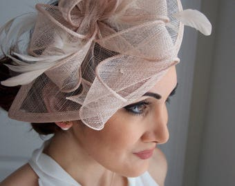"Nude Fascinator - ""Penny"" Mesh Hat Fascinator with Mesh Ribbons and Nude Feathers"