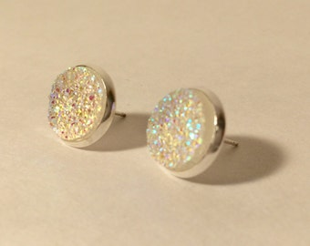 12mm clear druzy earrings in silver stud settings