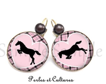 Horse cabochon Pink Purple black gingham heart earrings