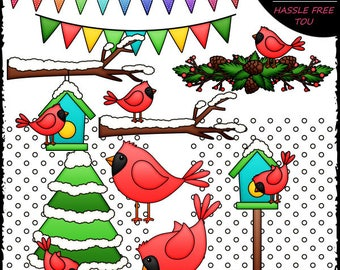 Winter Cardinals Clip Art and B&W Set