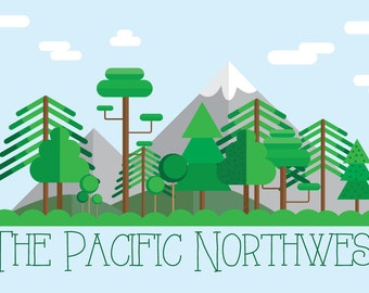 Pacific Northwest Digital Art Print, Wall Art, Pacific Northwest, PNW, Digital Art, Poster, Trees, Mountains, Megan Peterson Designs