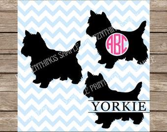 Yorkie svg Monogram Dog svg Yorkshire Terrier svg Pet svg Yorkie Monogrammed svg Terrier Dog svg files cut file silhouette cameo cricut