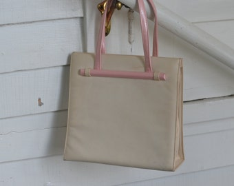 Classic ~ LENNOX Bags ~ Shimmer Pink/Matte Cream With SNAP Closure WRIST Handbag