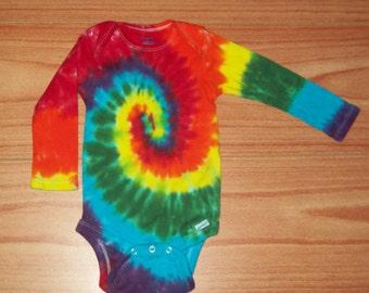 Tie dye onesie, All Sizes, 0-3m, 3-9m, 12m, 18m, baby onesie, Long sleeve tie dye onesie rainbow