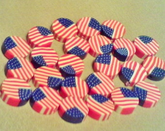 American flag beads; hand crafted polymer clay, American flag flat coin beads, 15x3.5mm, 5-10pcs/3.60-7.00.