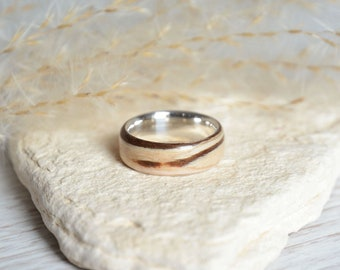 Wood ring size 6,5, veneer wood band ring, wooden band ring with sterling silver, natural wood band ring with silver