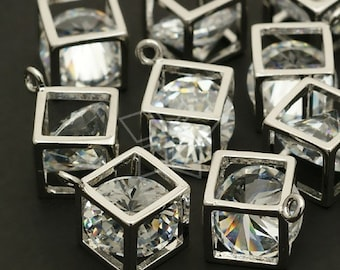 PD-111-OR / 2 Pcs - Cube Cubic Zirconia Charm, Silver Plated over Brass / 10mm