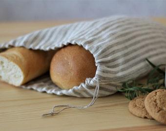 Striped Natural Linen Bread Bag, drawstring bag, kitchen bag, product bag, storage bag, bread keeper, linen gift bag, bread serving