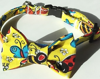 Yellow Insect Collar & Bow tie Set for Male Dogs and Cats with Bees, Spiders, Dragonflies and Lady Bugs
