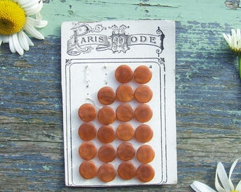 Vintage French Buttons 21 Chestnut Brown Buttons on Original Card, Paris Mode, Pearly Brown Buttons