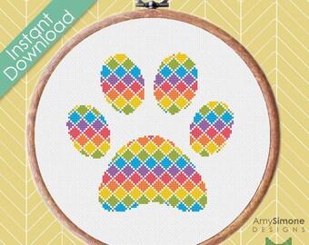 Paw Print Rainbow Diamond Cross Stitch Pattern