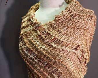Hand Knit Gold Poncho, Shaggy Chic Series 'glorious gold' Multitextural, shoulder wrap, bridal wrap, spring cover up, tied yarns, tribal