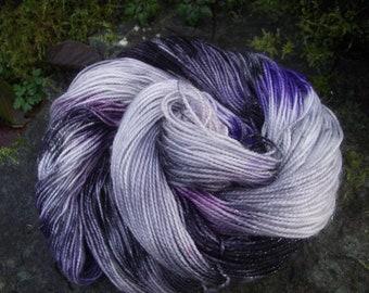Handpainted sock yarn, fingering yarn, superwash Merino Sparkle 100 grams-Nebula