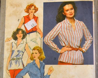 Vintage Sewing Pattern Simplicity 9568 Misses' Slash Neck Pullover Top Bust 42 Inches Complete Uncut