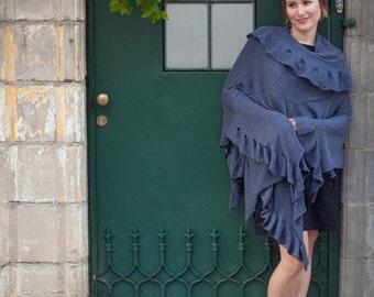 Knitted wrap dress pattern - Knitting machine instructions - Shawl scheme
