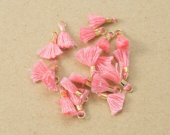 Mini Pink Cotton Tassel,Thread Tassel, Jewelry Supplies, Simple Tassel Polished Gold Plated over Brass - 4 pieces-[BP0054]-PINK/PG