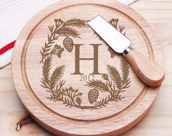 Winter Monogram Personalized Gourmet 5pc. Cheese Board Set - Holiday Gifts (JM4661280-CS913)