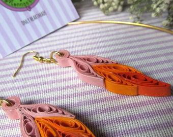 Dreamcatcher earrings pink and orange paper filigree