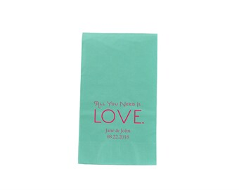 80 Dinner Size Napkins - All You Need Is Love Napkins - Personalized Wedding Dinner Napkins - Custom Dinner Size Napkins - Paper Napkins