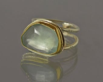 Large Aquamarine Ring, Gold and Silver, March Birthstone Ring, Natural Aquamarine in Gold Setting, Statement Aquamarine Ring, US Size 8 Ring